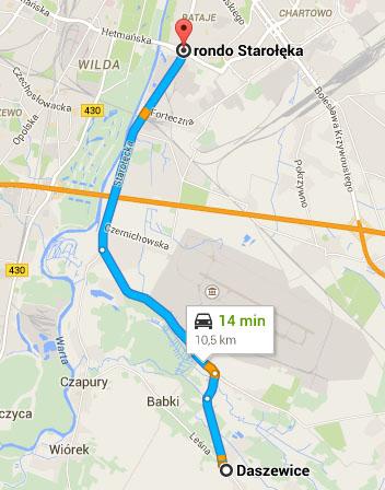 Mapa - dojazd z Daszewic do Poznania