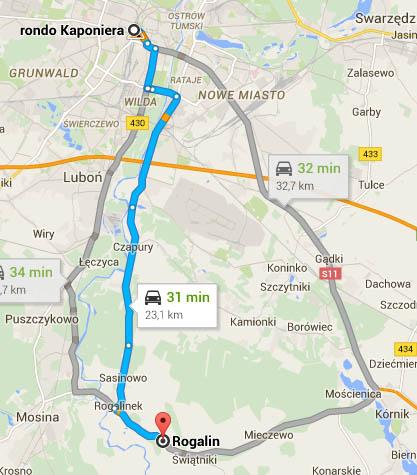 Mapa - dojazd z Rogalina do Poznania