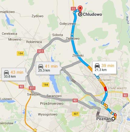 Mapa - dojazd z Chludowa do Poznania