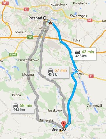 Mapa - dojazd ze Śremu do Poznania