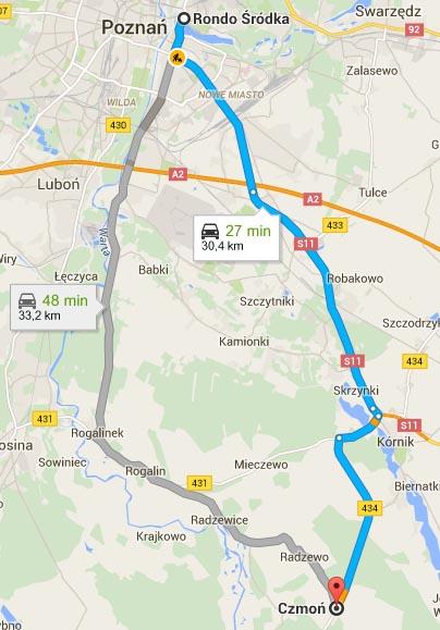 Mapa - dojazd z Czmonia do Poznania