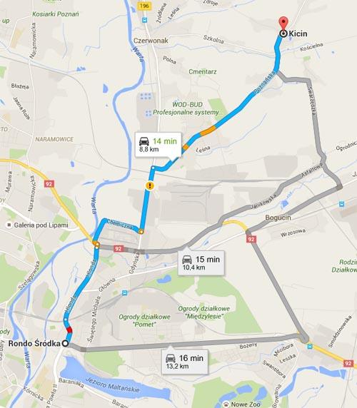 Mapa - dojazd z Kicina do Poznania na Rondo Śródka