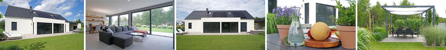 Słoneczny dom parterowy 130 m2 z wiatą garażową